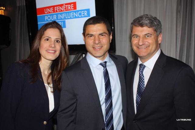 Alain Rayes, entouré de deux autres candidats conservateurs... (La Tribune, Yanick Poisson)