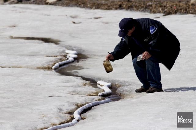 Un hydrocarbure a été retrouvé en quantité importante, hier, à la surface du... (PHOTO OLIVIER JEAN, LA PRESSE)