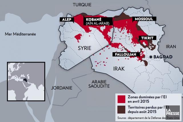 Le groupe armé État islamique a perdu de 25 à 30% de son territoire depuis août... (INFOGRAPHIE LA PRESSE)