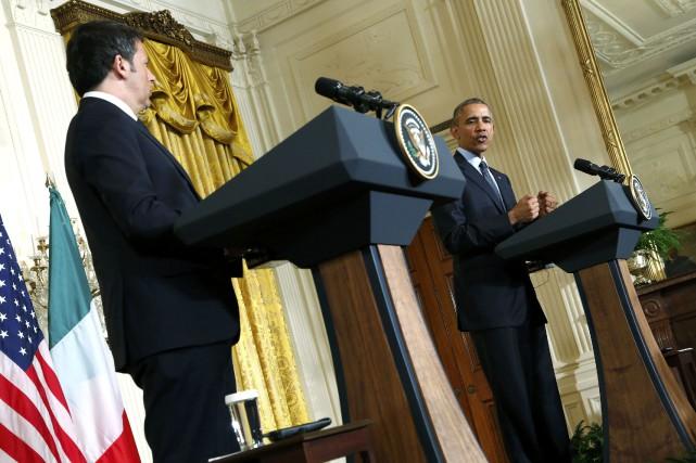 Barack Obama tient une conférence de presse aux... (Photo Jonathan Ernst, Reuters)
