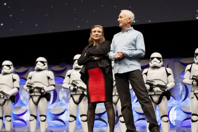 Carrie Fisher et Anthony Daniels, à la convention... (Photo David McNew, AP)