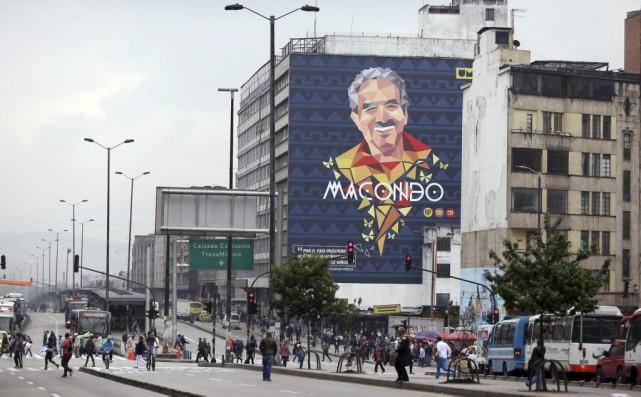 Une murale à l'effigie de Gabriel García Márquezà... (Photo Fernando Vergara, AP)