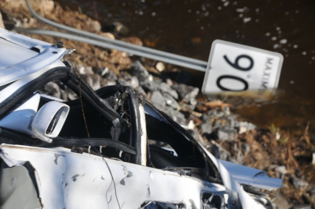 Un automobiliste peut remercier le ciel d'être encore en vie après que sa... (Photo collaboration spéciale Éric Beaupré)
