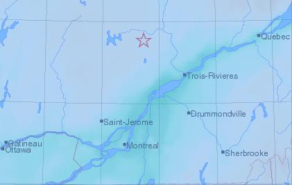 Les légères secousses d'un séisme d'une magnitude de 3,8 ont été ressenties en... (Image: Séismes Canada)