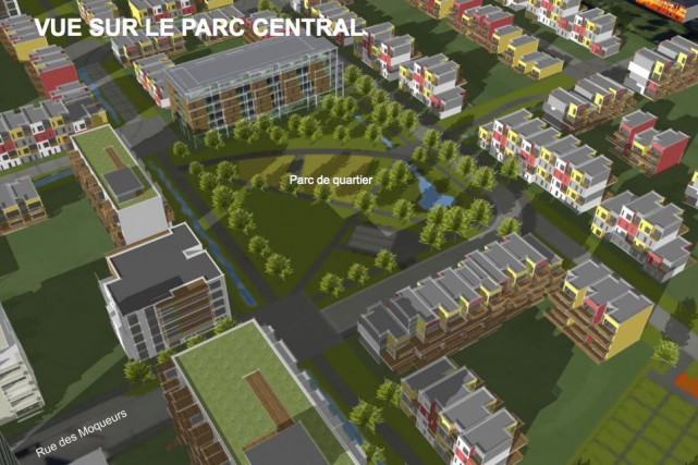 Vue sur le parc central de l'écoquartier D'Estimauville... (Image fournie par la Ville de Québec)