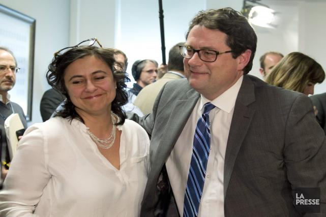 Bernard Drainville et son épouse Martine Forand.... (La Presse Canadienne)