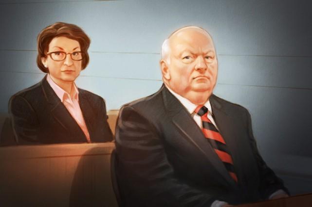 Le sénateur suspendu Mike Duffy au cours de... (Illustration La Presse Canadienne)