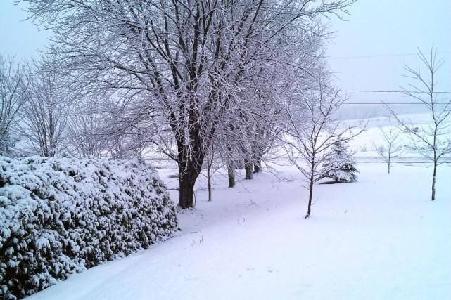 La neige recouvrait le sol dans le secteur... (Photo fournie)