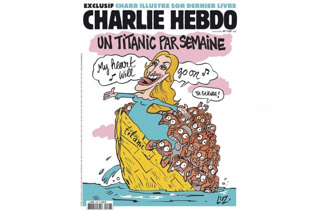 Le sujet n'a vraiment rien de drôle, mais l'humour noir de Charlie Hebdo frappe...