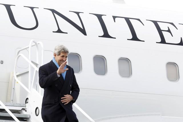 Le secrétaire d'État américain John Kerry est arrivé... (PHOTO CHRIS WATTIE, REUTERS)
