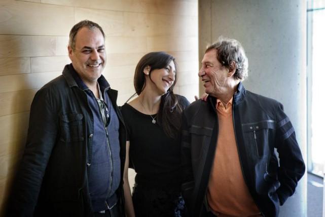 Jean-Pierre Ferland (à droite) en compagnie de l'orchestrateur...