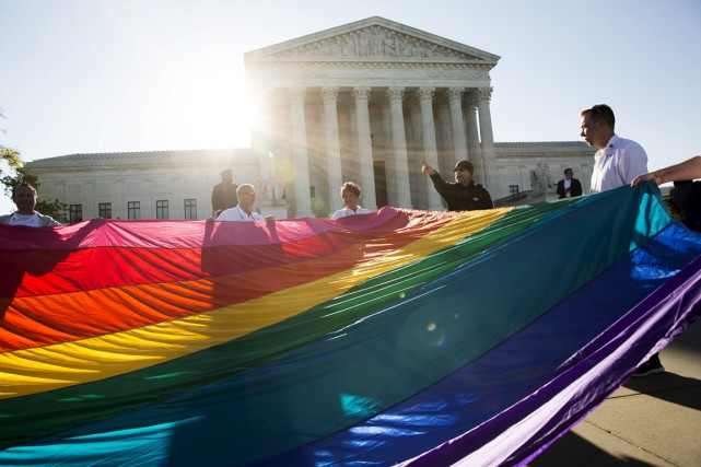 «Le mariage est un droit constitutionnel», proclamaient de... (PHOTO JOSHUA ROBERTS, REUTERS)