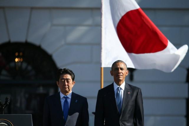 Shinzo AbeetBarack Obama,lors d'une conférence de presse dans... (Photo Andrew Harnik, AP)