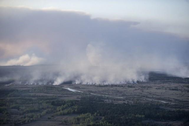 L'incendie touche une zone d'environ 400 hectares de... (Photo Andrew Kravchenko, AP)