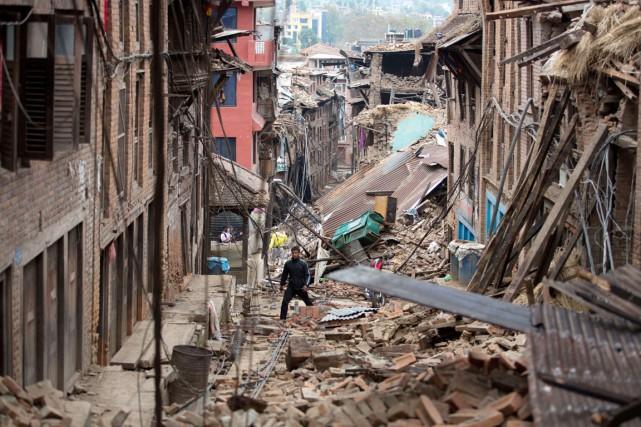 La ville de Bhaktapur «est une scène de... (PHOTO MENAHEM KAHANA, AFP)