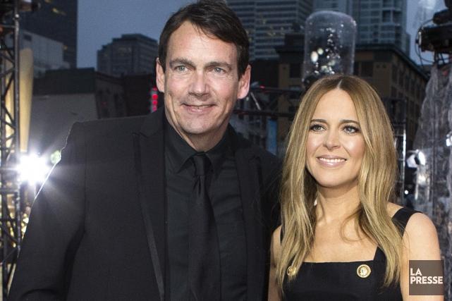 Pierre Karl Péladeau et sa future épouse Julie... (Photo Robert Skinner, La Presse)