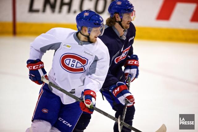 Lars Eller et Jeff Petry durant l'entraînement de... (Photo André Pichette, La Presse)