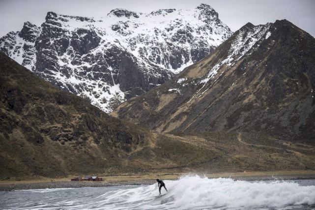 La plage d'Unstad, sur l'archipel norvégien des Lofoten,... (PHOTO OLIVIER MORIN, AFP)