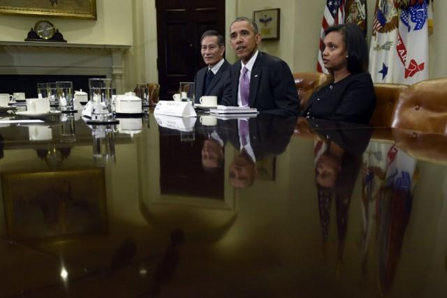 Le président Obama a discuté avec Dieu Cay... (Photo Susan Walsh, AP)