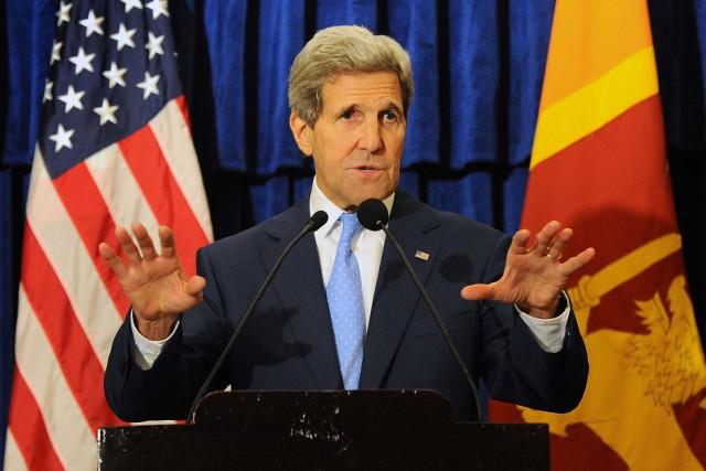 Le secrétaire d'État des États-Unis, John Kerry... (Photo Ishara S. KODIKARA, AFP)