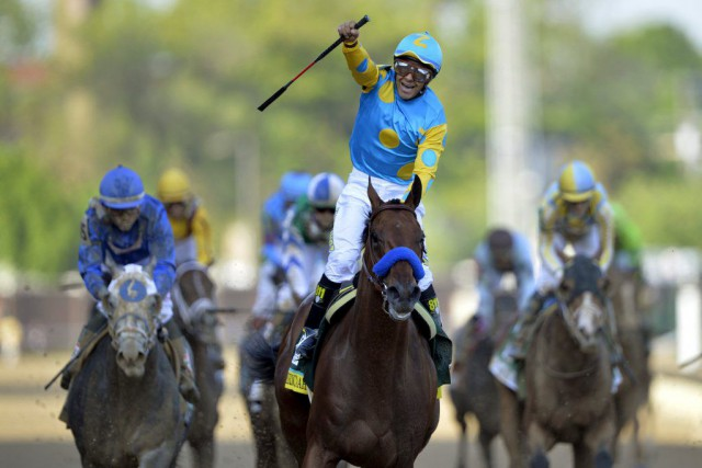 American Pharoah a remporté le 141e Derby du Kentucky devant une foule record à... (Jamie Rhodes USA TODAY Sports)