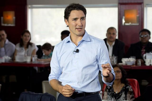 Justin Trudeau a prononcé un discours dans un... (La Presse Canadienne, Adrian Wyld)