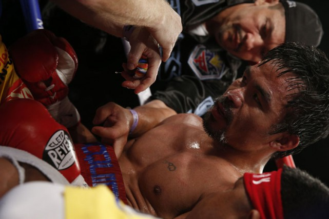 Manny Pacquiao lors du combat de samedi.... (Photo: AFP)