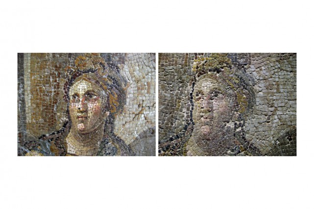 Les photos des mosaïques en question avant et... (Photo Tamer Yazar, AP)