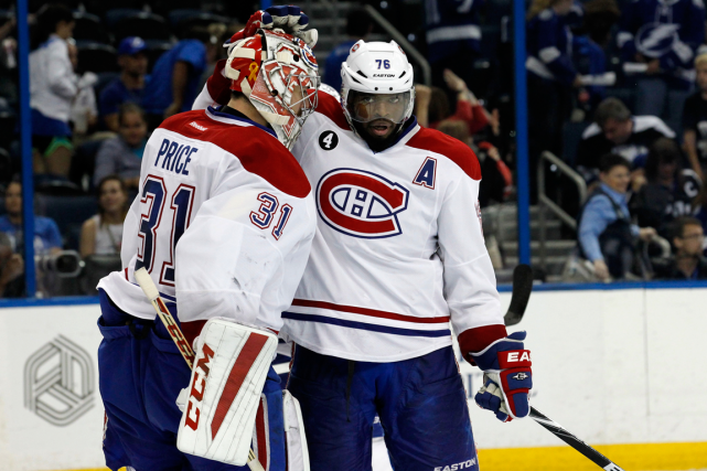 Carey Price et P.K. Subban se font l'accolade... (Photo Kim Klement, USA Today)