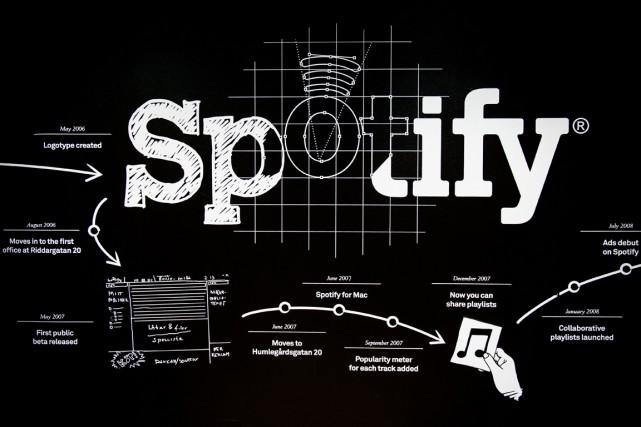 Le leader des services de musique en streaming Spotify a annoncé lundi... (PHOTO JONATHAN NACKSTRAND, AFP)