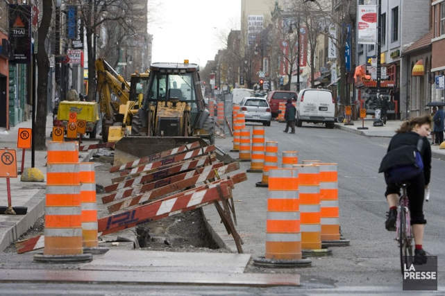 Les travaux du boulevard Saint-Laurent, il y a... (PHOTO ARCHIVES LA PRESSE)