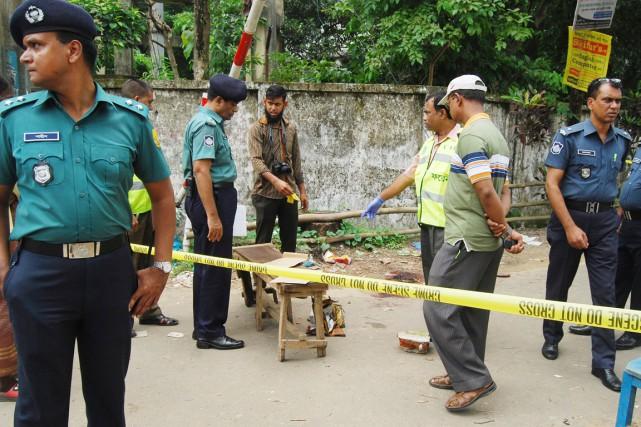 Ananta Bijoy Das, 33 ans, a été agressé... (PHOTO A.H.ARIF, AP)