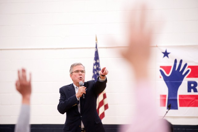 Jeb Bush, lors d'une assemblée publique à Reno,... (PHOTO JAMES GLOVER II, REUTERS)