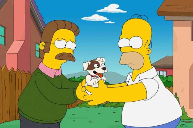 Ned Flanders et son voisin Homer dans un... (Photo: AP)