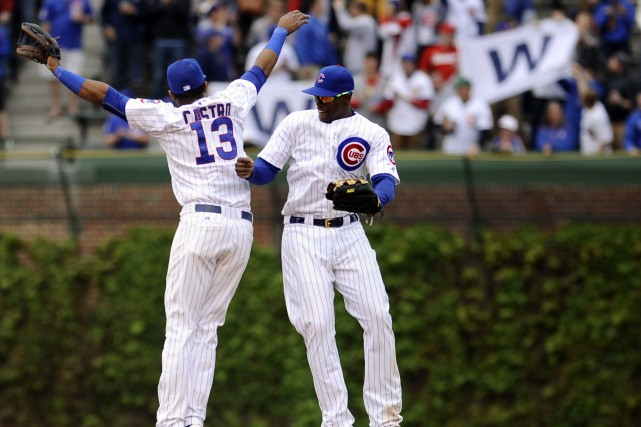 Starlin Castro et Jorge Soler festoient après la... (Photo Matt Marton, USA Today)