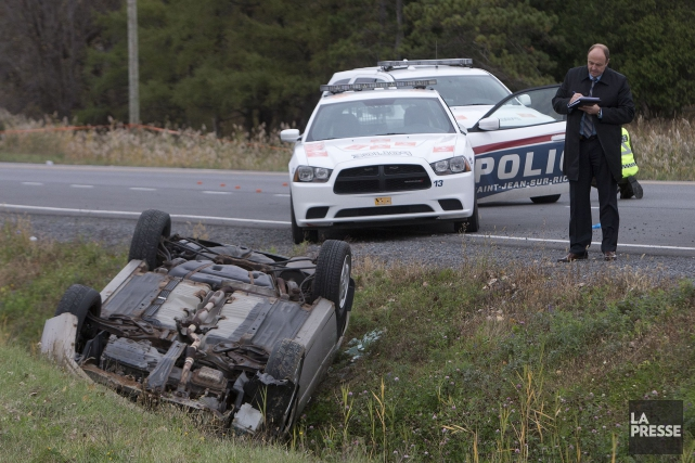 La voiture de Martin Rouleau renversée après une... (Photo Patrick Sanfaçon, archives La Presse)