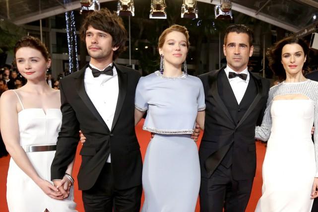 Les acteurs Jessica Barden, Ben Whishaw, Léa Seydoux,... (Photo AP, Lionel Cironneau)