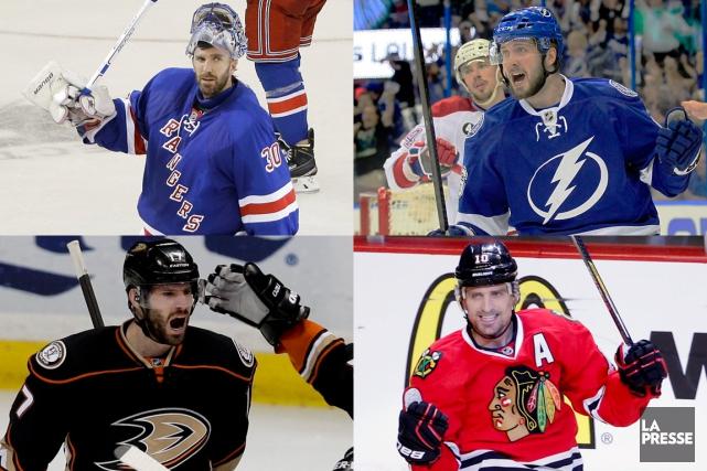 Henrik Lundqvist, Nikita Kucherov, Ryan Kesler etPatrick Sharp... (PHOTOMONTAGE LA PRESSE)