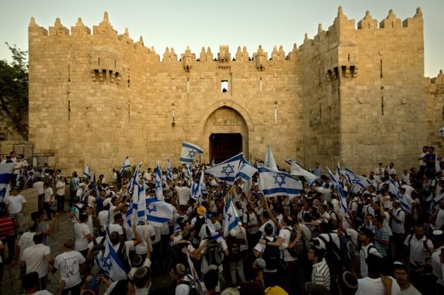 La marche du «Jour de Jérusalem» est devenue... (Photo Sebastian Scheiner/ AP)