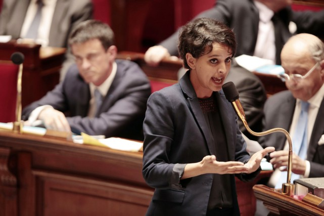La ministre de l'Éducation Najat Vallaud-Belkacem, qui à... (PHOTO JOEL SAGET, AFP)