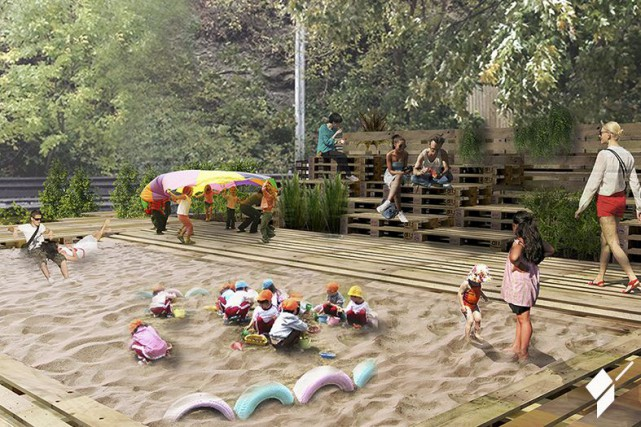 L'espace plage conçu par les étudiants en architecture...