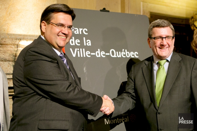 Les maires de Québec et de Montréal, Régis... (Photo Olivier Jean, La Presse)