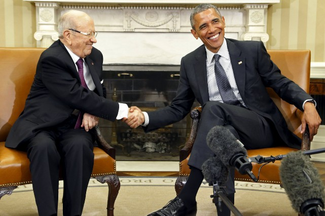 Barack Obama a reçu son homologue tunisien Béji... (Photo Jonathan Ernst, Reuters)