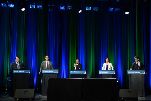 Les candidats à la course à la direction... (PHOTO ERICK LABBÉ, ARCHIVES LE SOLEIL)