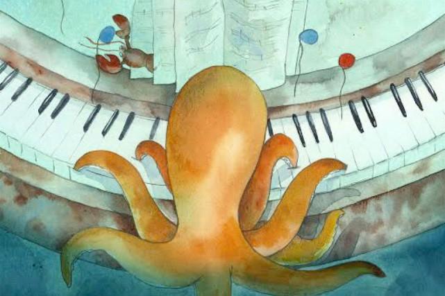 Hector la petite pieuvre découvre au fond des abysses un vieux piano grâce...