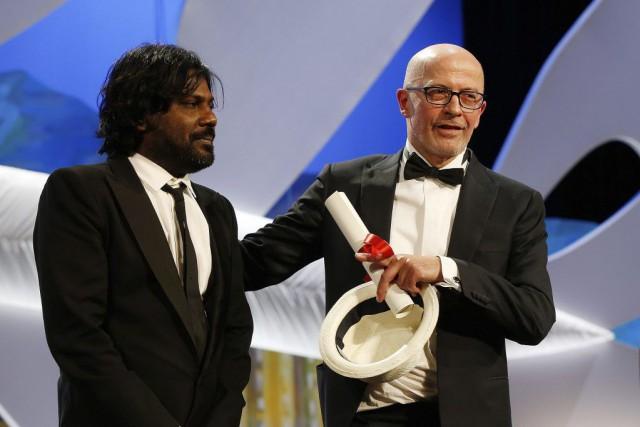 Le réalisateur Jacques Audiard et l'acteur sri lankais... (PHOTO VALERY HACHE, AFP)