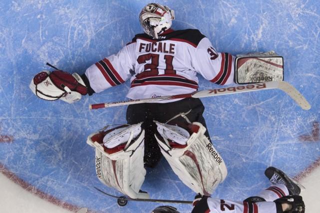 Zachary Fucale s'est surpassé dimanche, notamment sur cette... (La Presse Canadienne)