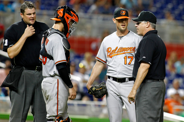 Le releveur des Orioles de Baltimore Brian Matusz... (Photo Joe Skipper, archives AP)