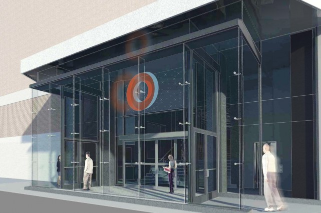 L'entrée de l'IUCPQ, qui est empruntée par plus... (Image ABCP Architecture)