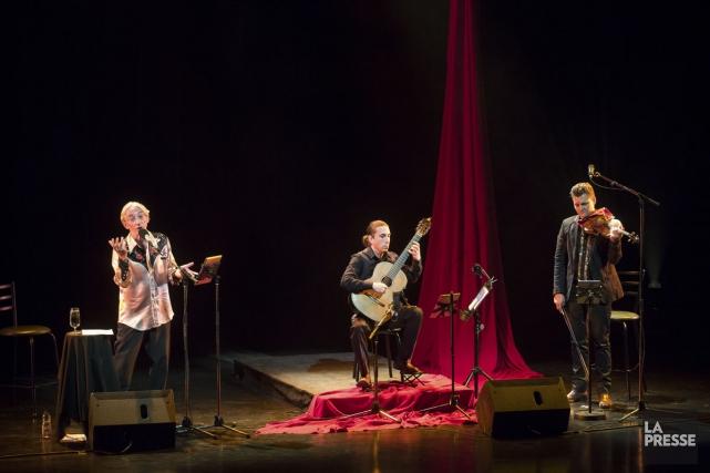 Le trio du spectacle Soleil d'Espagne: Richard Desjardins,... (Photo: Olivier Pontbriand, archives La Presse)